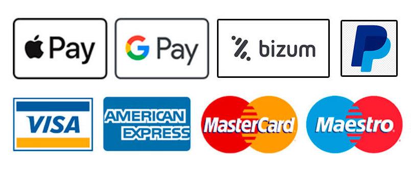 Pago seguro con distintas opciones: Bizum, PayPal, Tarjeta de credito Desatascos Jota